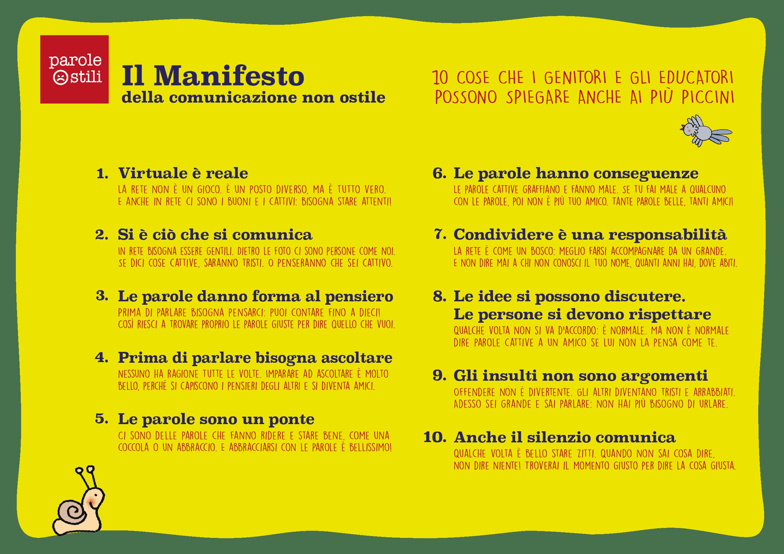Il Manifesto della comunicazione non ostile per l'infanzia